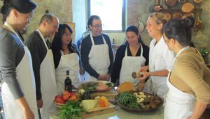Gina with students and mushroom lesson 2012